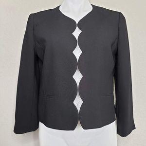 Ann Taylor   Scalloped Black Professional Blazer 8